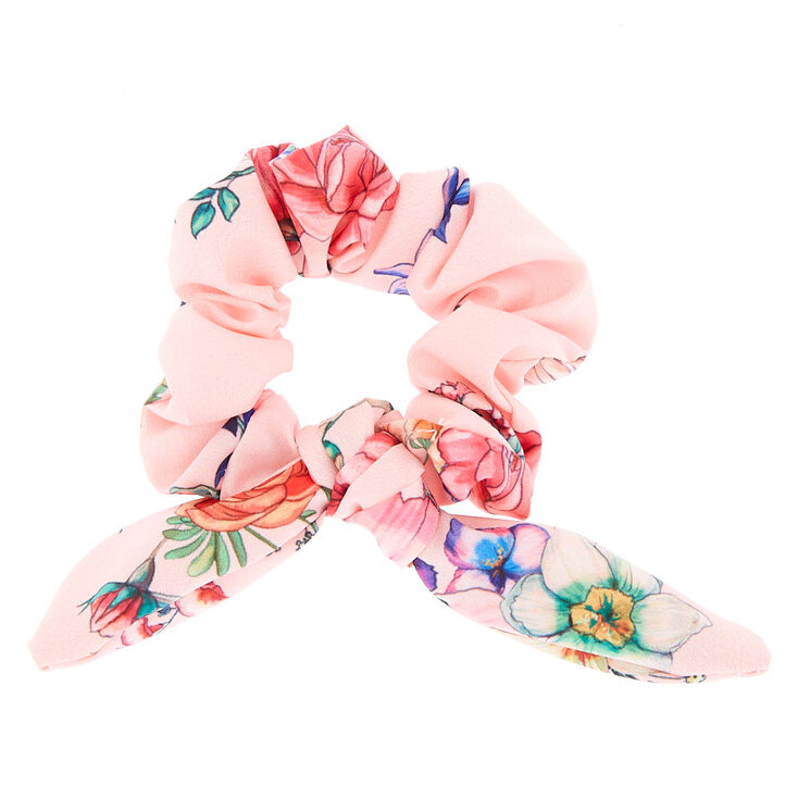 Rose Print Bow Hair Scrunchie - Pink,