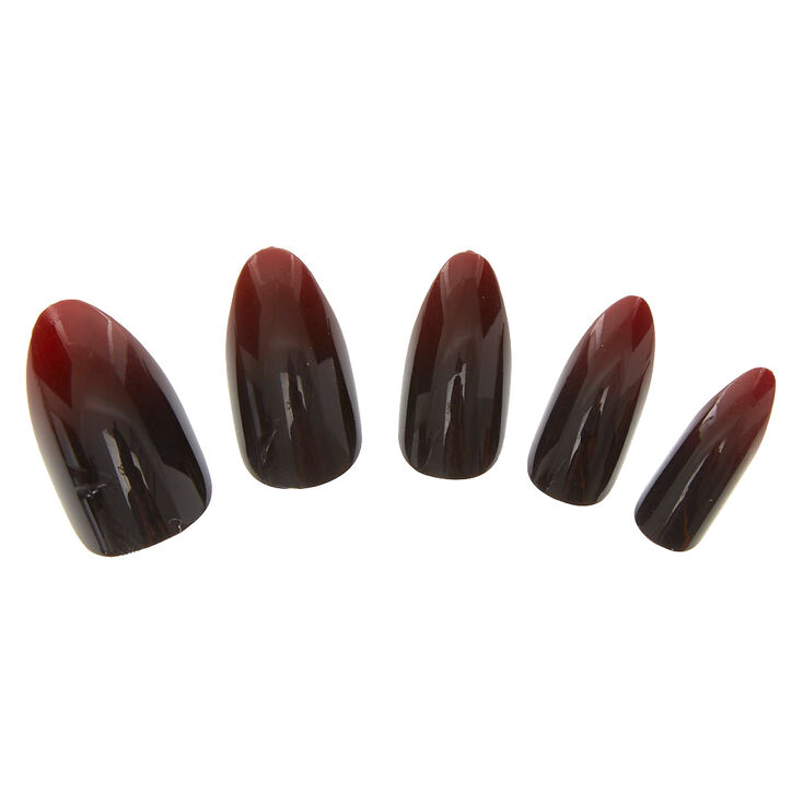 Red & Black Ombre Instant Nails,