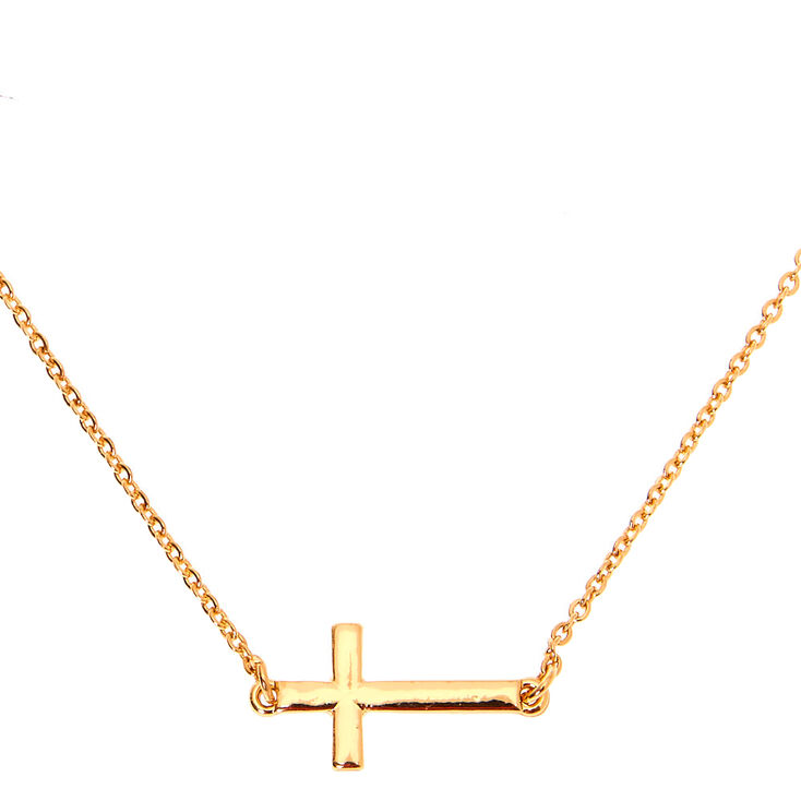 Gold Sideways Cross Pendant Necklace,