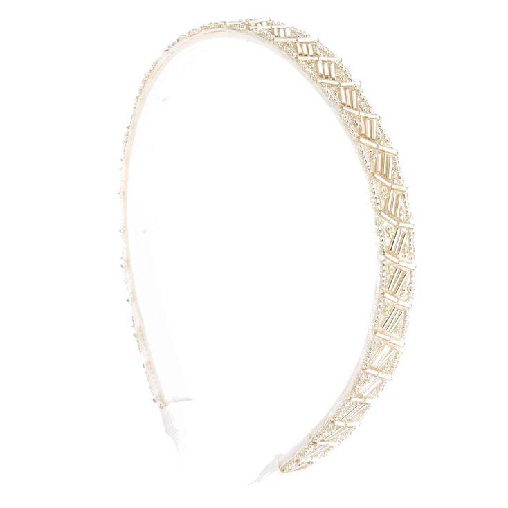 White Beaded Headband,