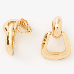 "Gold 1"" Basic Door Knocker Clip On Drop Earrings,"