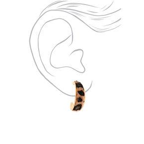 Gold 30MM Leopard Print Hoop Earrings,