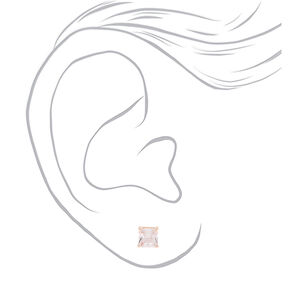 Rose Gold Cubic Zirconia 6MM Round Stud Earrings,