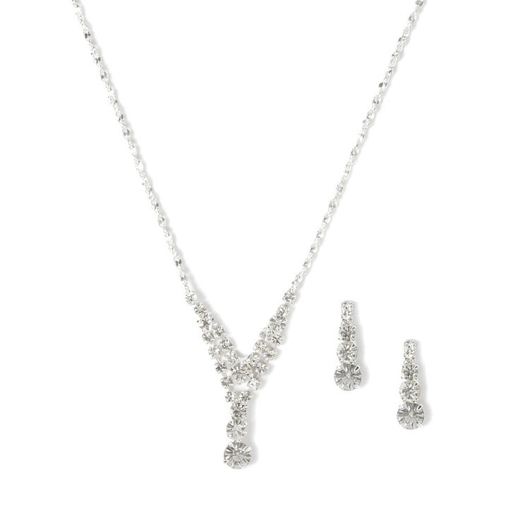 Rhinestone Small Double Y Necklace & Earrings Set,