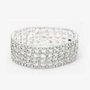 Silver Rhinestone Wide Cuff Stretch Bracelet,