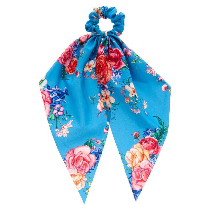 Rose Draped Scarf Hair Scrunchie - Blue,