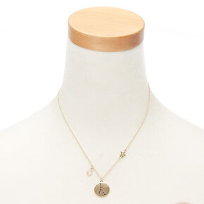 Gold Zodiac Pendant Necklace - Cancer,