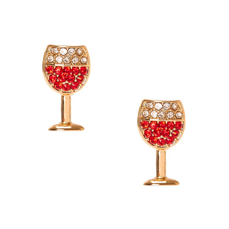 Gold Tone Red Wine Glass Stud Earrings,
