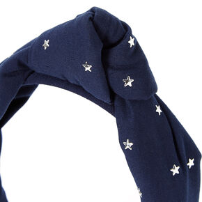 Stars Puff Knotted Headband - Navy,