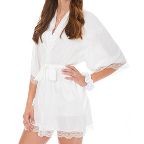 White & Rose Gold Foil Satin Bride Robe - S/M,
