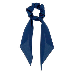 Satin Scarf Hair Scrunchie - Navy,