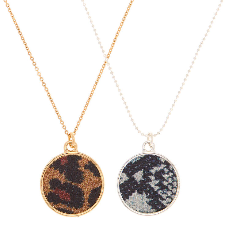 Mixed Metal Animal Print Pendant Necklaces - 2 Pack,