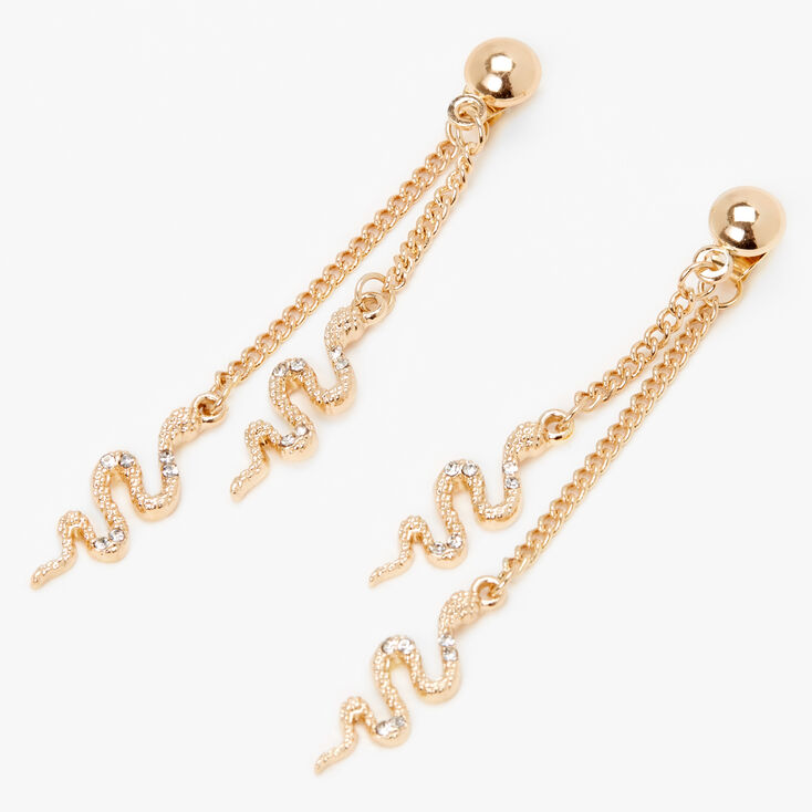 "Gold 2"" Embellished Snake Front and Back Drop Earrings,"