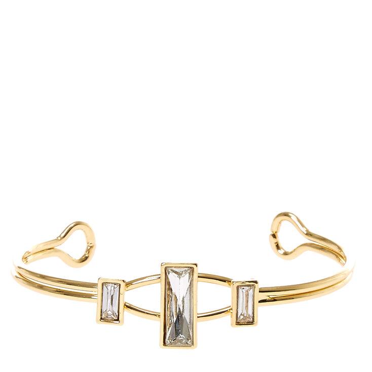 Gold Tone Square Glass Stone Cuff Bracelet,