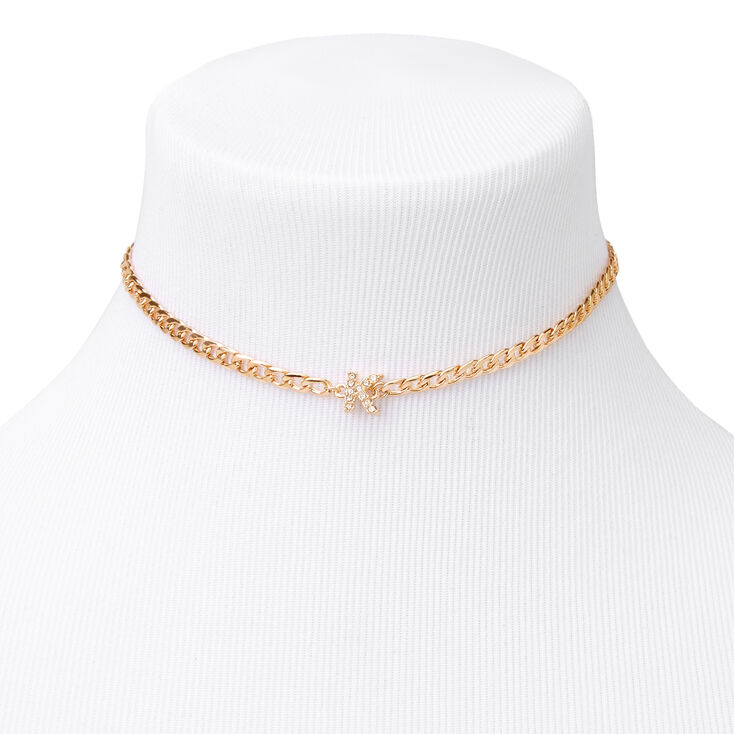 Gold Embellished Initial Chain Choker Necklace - K,