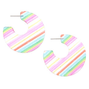 Gold 45MM Striped Hoop Earrings - Rainbow,