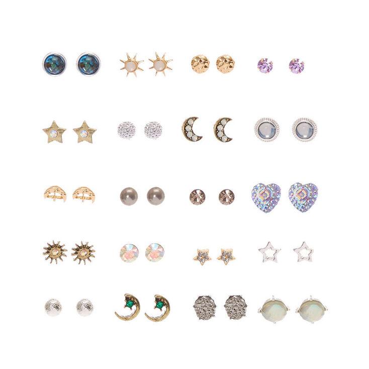 Iridescent Celestial Stud Earrings - 20 Pack,