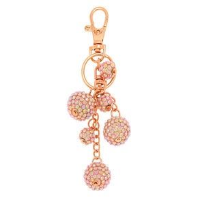 Rose Gold Bling Fireball Keychain - Pink,