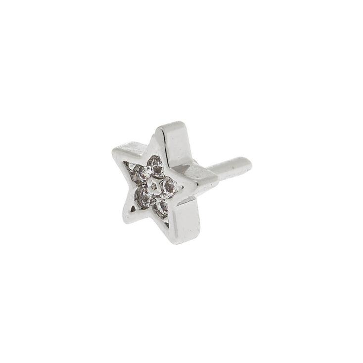 Silver Cubic Zirconia 16G Star Helix Stud,