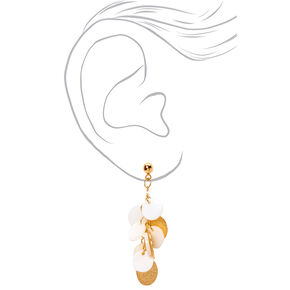 "Gold 1.5"" Seashell Disc Chandelier Drop Earrings - White,"