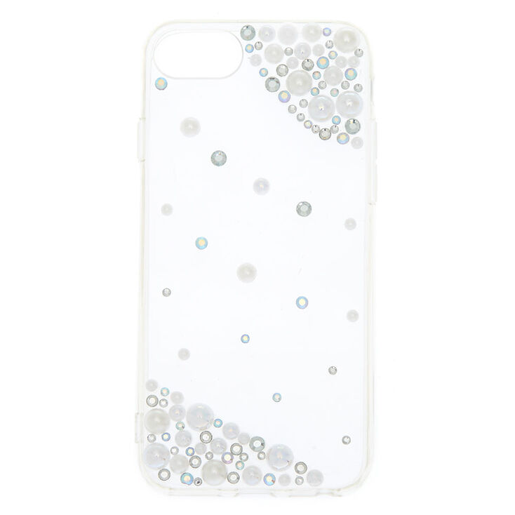 Iridescent Stones + Faux Pearl Phone Case - Fits iPhone 6/7/8,
