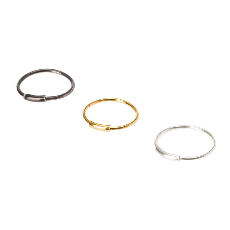 Sterling Silver 23G Mixed Metal Nose Hoops - 3 Pack,