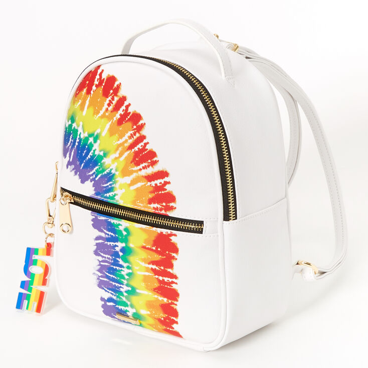 Ranbow Tie Dye Small Backpack - White,