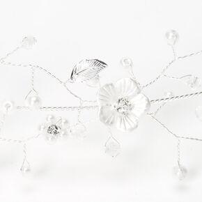 Silver Metallic Flower Crown Headwrap,