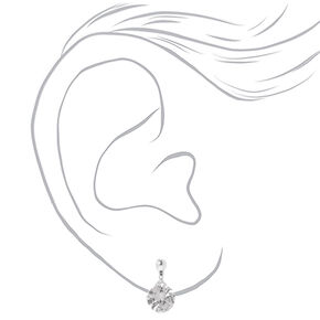 Cubic Zirconia 10MM Clip On Drop Earrings,