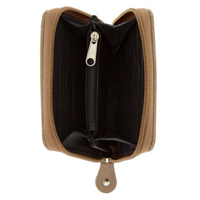 Faux Leather Mini Zip Wallet - Tan,
