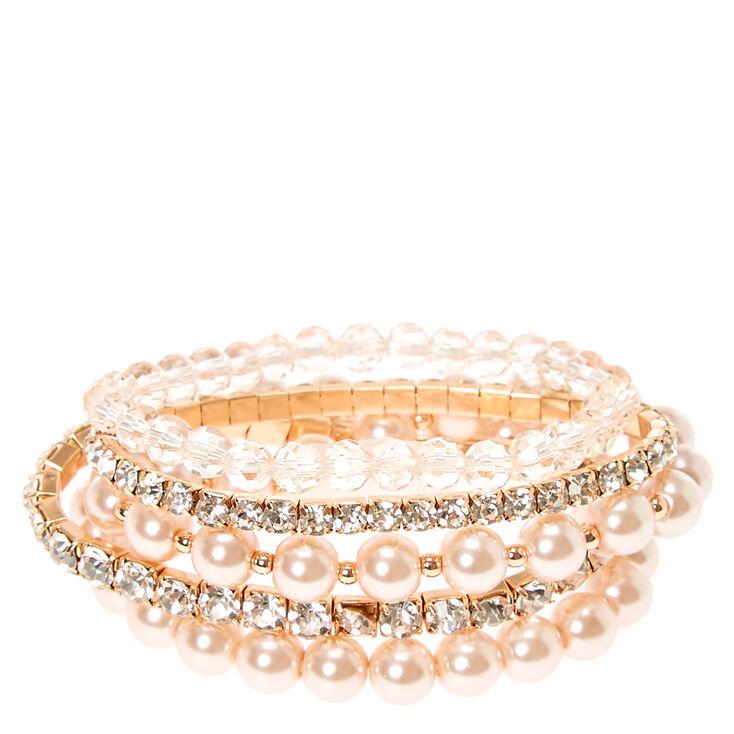 Rose Gold Embellished Stretch Bracelets,