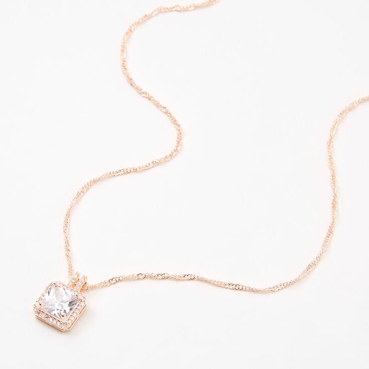 Rose Gold Cubic Zirconia Square Halo Pendant Necklace,