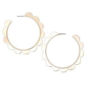 Silver 60MM Scalloped Hoop Earrings,