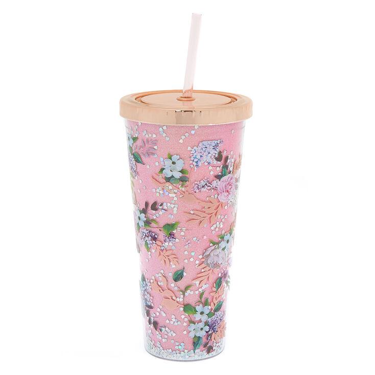 Floral Glitter Tumbler - Pink,