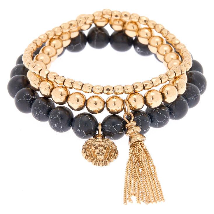 Courage Fortune Stretch Bracelets - Black, 3 Pack,