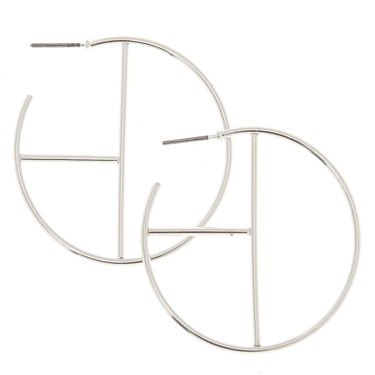 40MM Silver Tone Geometric Hoop Earrings,