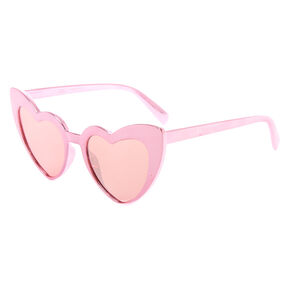 Metallic Heart Wing Sunglasses - Pink,