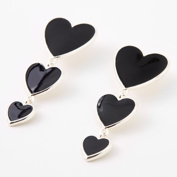 Silver Triple Hearts Enamel Drop Earrings - Black,