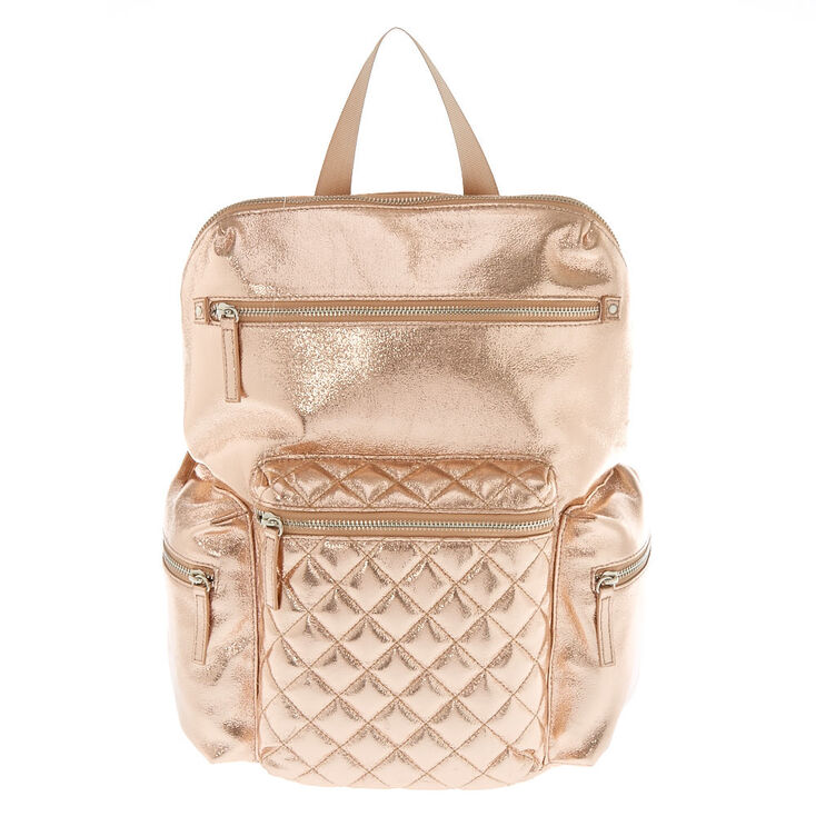 Quilted Metallic Medium Backpack - Rose Gold,