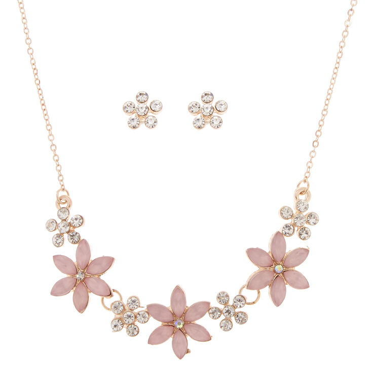 Rose Gold Floral Jewelry Set - Pink, 2 Pack,