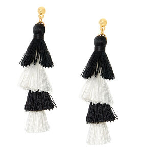 Black & White Tiered Tassel Drop Earrings,