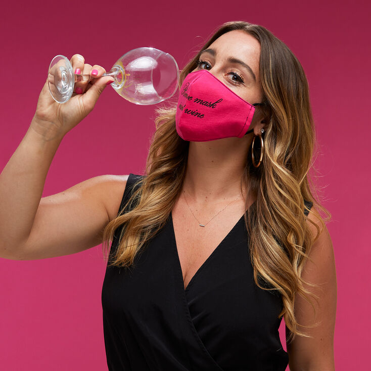 Cotton Pink 'Remove Mask Insert Wine' Face Mask - Adult,