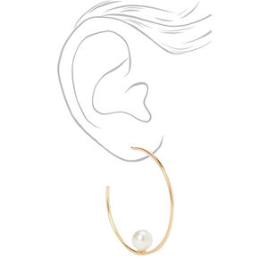 Gold 45MM Single Pearl Hoop Earrings,
