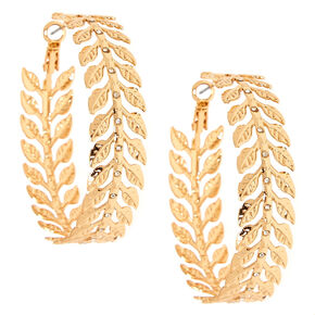 50MM Gold-Tone Leaf Hoop Earrings,
