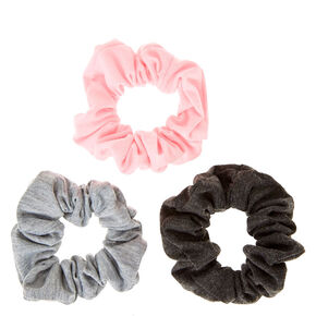 Pink And Grey Jersey Hair Scrunchies,