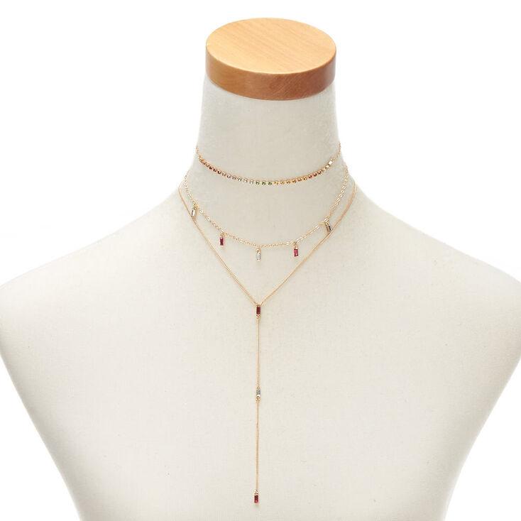 Gold Rainbow Rectangle Choker Necklace Set- 3 Pack,