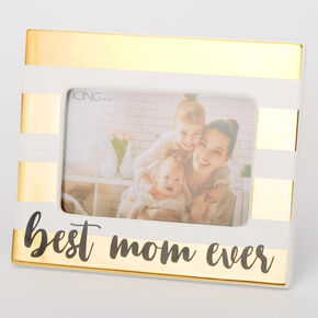 Best Mom Ever Striped Photo Frame - Gold,