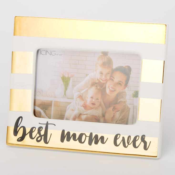Best Mom Ever Striped Photo Frame - Gold,
