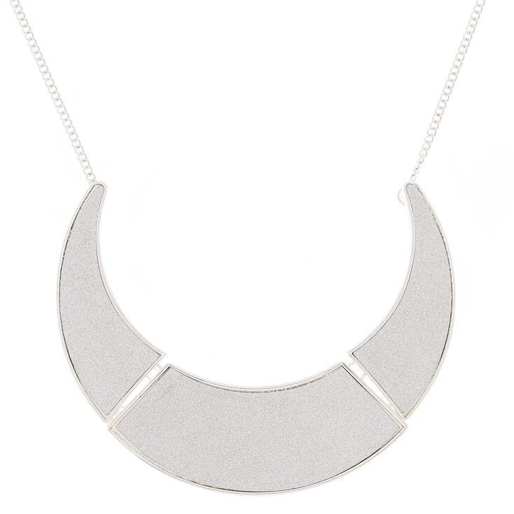 Silver Glitter Collar Statement Necklace,