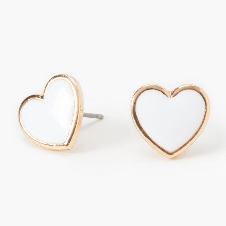 Gold Heart Stud Earrings - White,